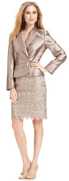 Satin Jacket Lace Skirt Suit - Lyst