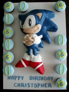 sonic cake with cupcakes, replace 6 with age