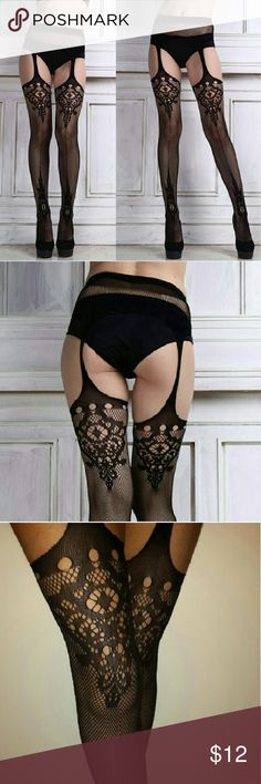 *!* Illusion Garter Tights *!* Max sz 14/16 Sexy and classy...Netted tights made to look like garters. They go on like regular tights but the thighs are cut out. Tights are very comfortable and good quality netting *Max size14/16..very stretchy material *Designs are on front and back of tights *Can be a lingerie item or worn with panties/thong or with a shorter skirt with added flair. Intimates & Sleepwear Hosiery & Socks