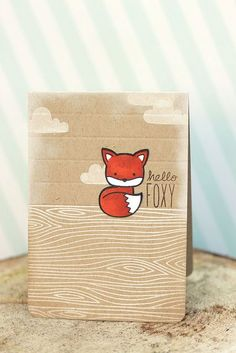 Lawn Fawn - Woodgrain Backdrops, Into the Woods, Milo's ABCs _ such a sweet card by Elena