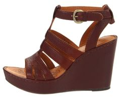 Platform Wedge Sandals | Women's Shoes Born Pemberly Platform Wedge Sandals Leather Black Brown ...