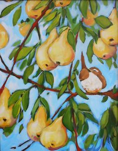 16x20 original painting  Bird in a Pear Tree by whimsybykaarin, $200.00