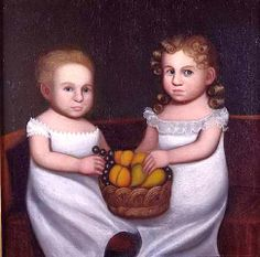 "Belknap, Zedekiah (attributed to). ""Two Children with a Basket of Fruit,"" ca. in Fenimore Art Museum Mini Paintings, Second Child, Children And Family, Fashion Plates, American Women, American Artists, Family Portraits, Art Museum, Folk Art"