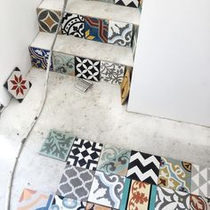 patchwork tile being installed