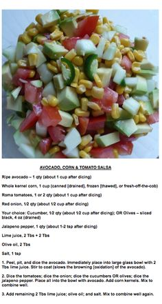 Avocado Corn & Tomato Salsa