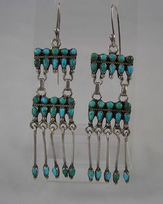 Old Zuni Indian Dangling Earrings