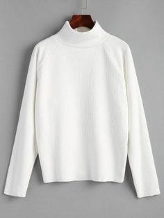 SHARE & Get it FREE | Raglan Sleeve Pullover Turtleneck Sweater - WhiteFor Fashion Lovers only:80,000+ Items • New Arrivals Daily Join Zaful: Get YOUR $50 NOW!