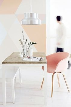 Color block with subtle geometry. | 23 Subtle Yet Bold Ways To Add Color To Your Home