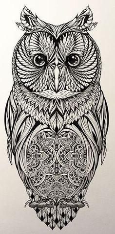 Идея для татуировки совы с орнаментами