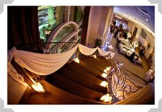 Draped Staircase with Candles