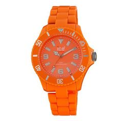 Ice-Watch Women's CF.OE.B.P.10 Classic Fluo Orange Polycarbonate Watch Ice-Watch. $53.00. Orange dial with Arabic numerals at 3, 6, 9. Water-resistant to 165 feet (50 M). Silver-tone luminous hands and markers. Printed outside minute track. Orange plastic bracelet with deployment clasp