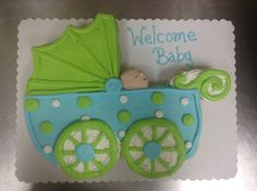Baby carriage cupcake cake made with 24 cupcakes and buttercream icing by Laurie Grissom Pull Apart Cake, Pull Apart Cupcakes, Naming Ceremony Decoration, Buttercream Icing, Specialty Cakes, Welcome Baby, Baby Shower Cakes, How To Make Cake, Cake Pops