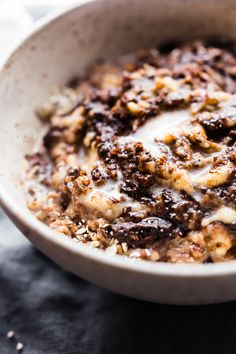 """This dairy free Boston Cream Pie Banana Oatmeal is a gluten free """"superfood"""" breakfast treat! A banana oatmeal recipe that tastes like dessert, yet satisfying and nourishing! Made with natural ingredients and packed with protein. Perfect for post workout recovery, a hearty breakfast, or just pure bliss"""