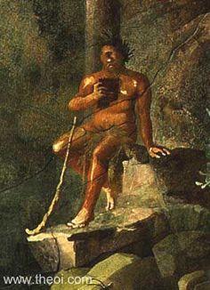 Polyphemus Playing the Pipes | Roman fresco Pompeii  one eyed Kyltops Polyphemos