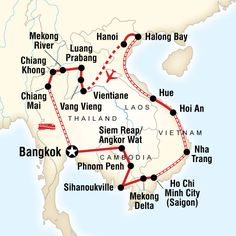Map of the route for Indochina Discovery
