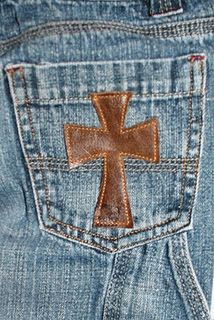 Embellished jeans -- It's really so easy to decorate the pockets of jeans.  I embroidered mine and added rhinestones with a heat tool.  I love them!  My jeans don't show a plumber's crack, and I can still have the latest fashion.