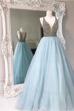 Elegant blue tulle V neck A-line sequins bridesmaid long dress,princes – Sweetheartgirls