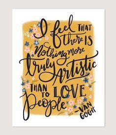 Van Gogh Quote  Illustration  Spring Decor  Art by LilyandVal