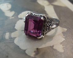 Charming Sterling Amethyst Ring Size 6 3/4 Peacock Design