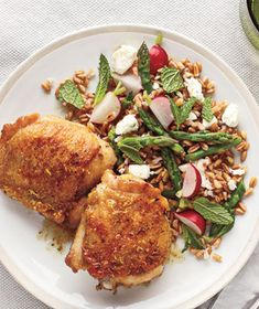 Lemon-Pepper Chicken Thighs With Farro Salad Recipe