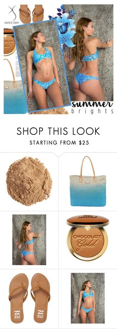 """XAVIER SWIM: Mojito Set"" by gaby-mil ❤ liked on Polyvore featuring The Beauty Chef, Sun N' Sand, Too Faced Cosmetics, Billabong, bikini, swim, shop, mimosa and Xavier"