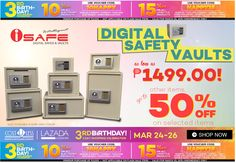 Save up to 50% Off when you buy Digital Safety Vault on Lazada's 3 Day Sale Promo! Plus, you can get 15% Off with a Minimum Purchase of 2,000.00. Use Voucher Code:HAPPY15 Free Delivery Nationwide! Cash On Delivery! http://www.lazada.com.ph/catalog/?q=safe+vault+cost+u+less