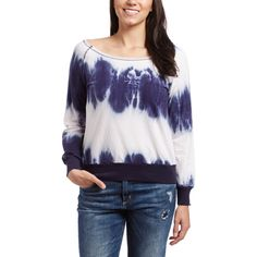 Exist Navy & White Tie-Dye Boatneck Sweater ($7.99) ❤ liked on Polyvore featuring tops, sweaters, navy and white sweater, long sweaters, long cotton tops, boat neck tops and layered tops