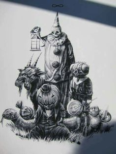 Very cool looking vintage sketch of a Halloween bunch