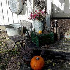 SOM det blåst inatt! Massa löv som åkt av.. Helt underbart höstväder idag dock Ha en fin fredag! ❤❤ #trädgård #garden #falldecor #höstmys #höst #instagood #inspiration #instagram #instalike #boho #vintage #zink