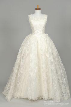 1950 Rosette Vintage Wedding Gown - Mill Crest Vintage