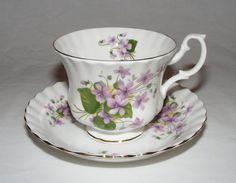 VINTAGE ROYAL ALBERT ENGLISH BONE CHINA VIOLET FLOWER TEA CUP SAUCER SET ~ MINT in Pottery & Glass, Pottery & China, China & Dinnerware, Royal Albert | eBay