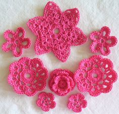 Hot Pink Crochet Appliques Flowers by SunshineStitches on Etsy, $5.00