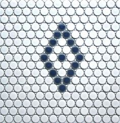 Single Diamond Tile Pattern i White and Cornflower Blue Mosaic Tile Supplies, Penny Tile, Color Tile, Mosaic Patterns, Repeating Patterns, Mosaic Tiles, Interior And Exterior, Swatch, Diamond