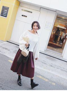 Off-Shoulder Knit Top (Ivory) | STYLENANDA