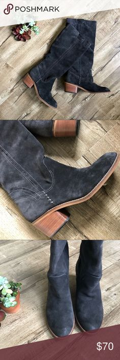 Dolce Vita Garnett Dark Gray Suede Boots 9.5 EUC Everything about these boots says BEAUTY! Dark lovely gray suede. 2 inch square wood stacked heel. Garnett Anthracite Gray pull-on knee highs from Anthropology. Contrast stitching. Burnishing on toes and heels for a rustic look. Calf goring (elastic) for comfort and fit. I'm reposhing although I love them I've only worn them once. Size 9.5. EUC, no flaws other than the wear shown on the soles. Measurements provided on request. Smoke-free…