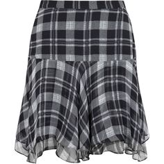 Joie Minoree Plaid Silk Skirt ($305) ❤ liked on Polyvore featuring skirts, bottoms, black and white, flared skirts, black and white tartan skirt, black white plaid skirt, white and black plaid skirt and black and white skirt