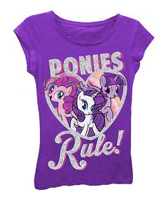 Another great find on #zulily! Raspberry 'Ponies Rule!' My Little Pony Tee - Girls #zulilyfinds