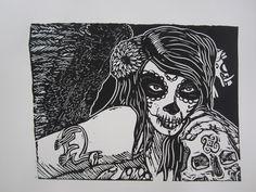 'Freya ', linoleum printing by Damy van der Waal