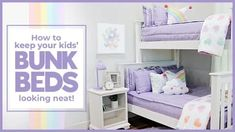 How To Keep Your Kids' Bunk Beds Looking Neat – Beddy's Floral Bedroom Decor, Boho Decor, Girls Bedroom, Bedroom Ideas, Beddys Bedding, Zipper Bedding, Built In Bunks, Purple Bedding, Kids Bunk Beds