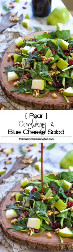 Cranberry Spinach Salad  with slightly sweet pears, tart dried cranberries, creamy blue cheese and honey pecans...  a sweet and savory salad that is on your table in 5 minutes