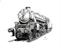 Pen & Ink Drawing, A4 - Steam Train by PetesPiccies on Etsy