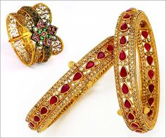 Gold bangles range from the plain, studded and filigree worked pieces throughout the length and breadth of the country.Here are few designs of gold bangles.