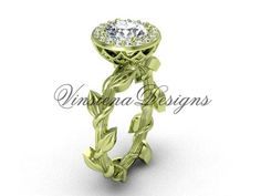14kt yellow gold diamond leaf and vine, halo engagement ring VF301015