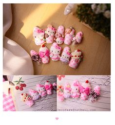Tea time with hello kitty  sanrio  Nail art  by deco5444 on Etsy
