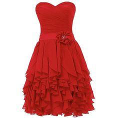 Dresstells Sweetheart Prom Chiffon Bridesmaid Dress Homecoming Dresses ($40) ❤ liked on Polyvore featuring dresses, red prom dresses, red homecoming dresses, red cocktail dress, prom dresses and sweetheart neckline prom dress