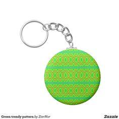 Green trendy pattern basic round button keychain