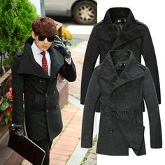 $38.98 / Men's Coats Slim Lapel Casual Overcoat Wool Long Trench Coat #coat #coats #fashion - FREE SHIPPING
