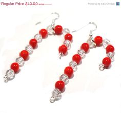 Candy Cane Earrings with Swarovski Crystals 3 by BrankletsNBling, $8.00