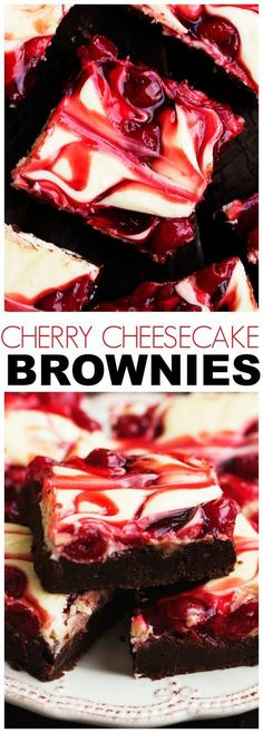 Cherry Cheesecake Brownies are one of the BEST brownies you will make! Three amazing desserts combine in one to bring you a creamy delicious and rich brownie!(Dessert Recipes To Try) Brownie Desserts, Cheesecake Brownies, Brownie Recipes, Fun Desserts, Delicious Desserts, Yummy Food, Cherry Desserts, Cheesecake Recipes, Cheesecake Crust