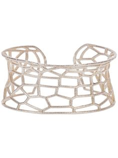 Sterling silver cuff from Lotocoho featuring an all-over geometric grid pattern. @L · T · C · H · //  Unique Jewellery